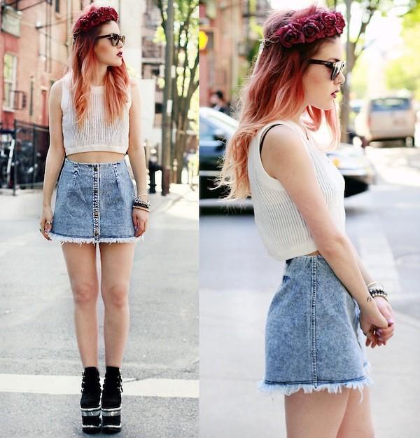 cách phối đồ với chân váy bò đẹp, chân váy jean ôm với áo ba lỗ
