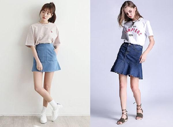 cách phối đồ với chân váy bò đẹp, chân váy rin, chân váy jean ôm với áo phông