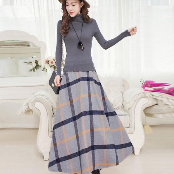 Chân váy dài maxi áo len