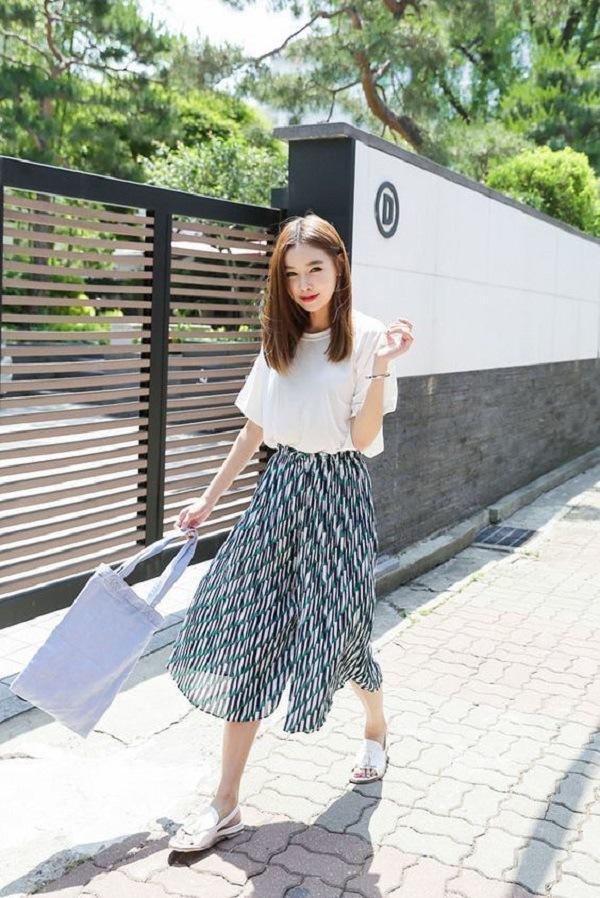 Chân váy maxi dài áo thun