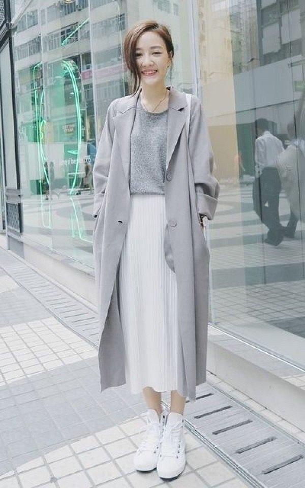 Chân váy maxi áo len khoác dài đẹp