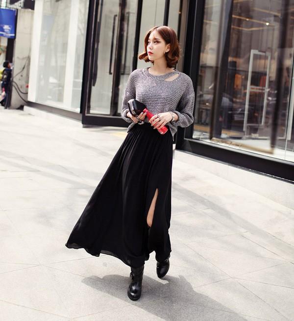 Chân vái maxi đẹp với áo len cách điệu