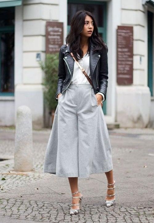 Quần ống rộng + áo basic + giày cao gót