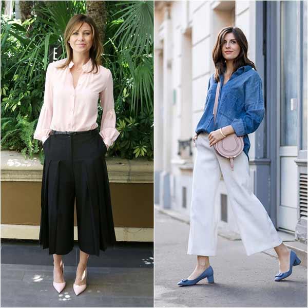 mix đồ với quần culottes - quần ống rộng nữ - quần ống suông mặc với áo gì