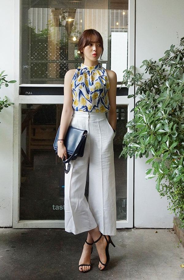 quần culottes dài - áo mặc với quần ống rộng nữ đẹp 3