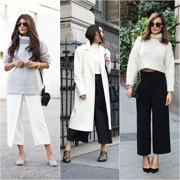 phối đồ với quần culottes - quần ống rộng nữ -quần ống suông mặc với áo gì 2