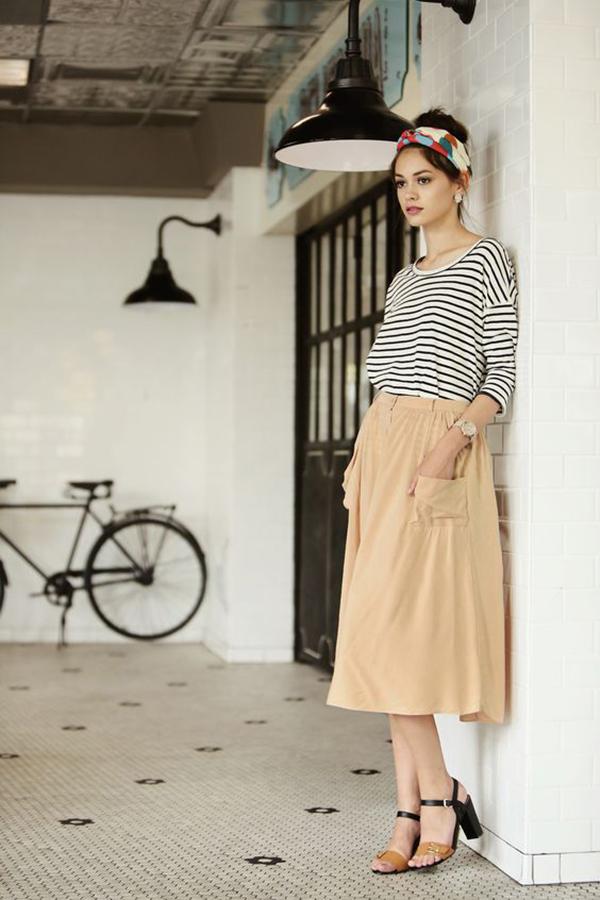 Phong cách thời trang vintage với váy có túi