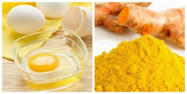 Chăm sóc da bằng trứng gà và bột nghệ