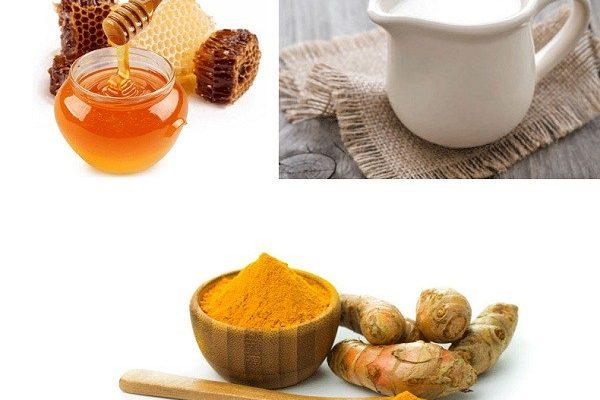 Mặt nạ tinh bột nghệ mật ong và sữa tươi không đường