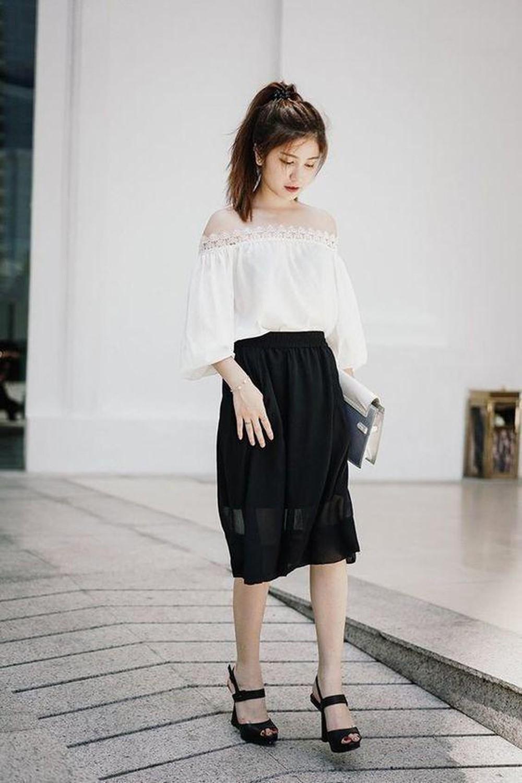 chân váy dài kết hợp với áo gì
