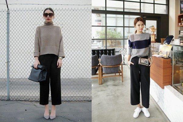 Quần culottes và áo len