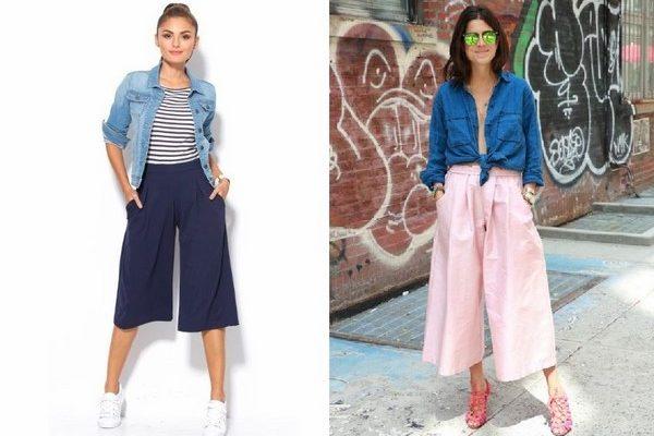 Quần culottes và áo jean