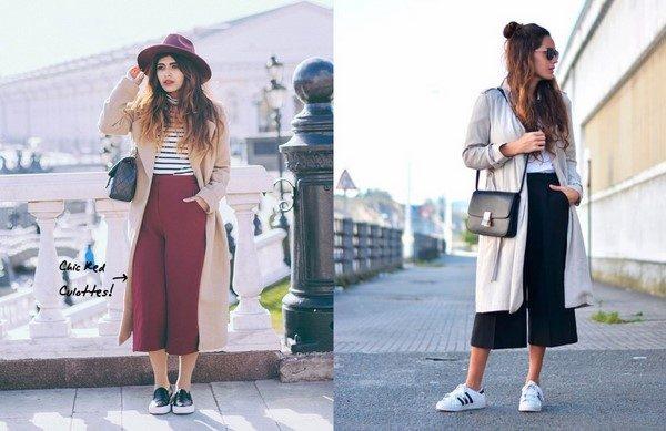 Quần culottes và áo khoác dài